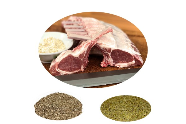 LAMB BBQ BUNDLE 1: Black Pepper Rosemary Canterbury Frenched Lamb Rack (400-500g) (Chilled)